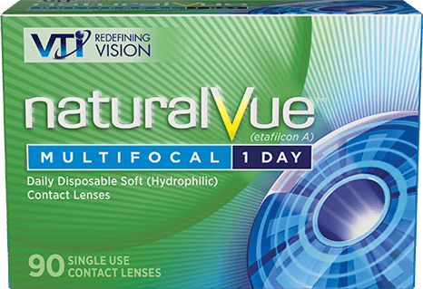 Don't reach for readers. Reach forNaturalVue® Multifocal 1 Day Contact Lenses